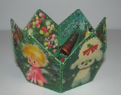 """Vintage Christmas unique 5"""" green candy dish decoration, made of vintage cards"""