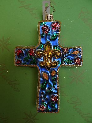 Christopher Radko Blue Faith Of The Ages Glass Ornament