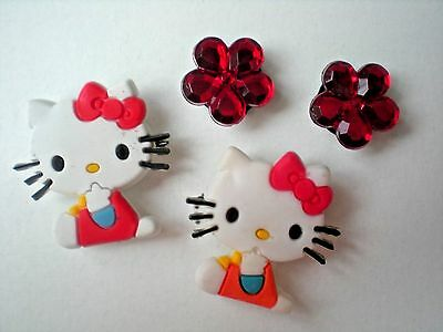 Jibbitz Croc Clog Shoe Charm Plug New 4 Hello Kitty For Wristbands Fitbit Belts