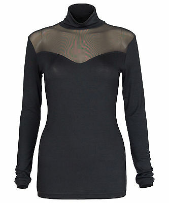 Ladies Womens Mesh Insert Long Sleeve Polo Neck Top Turtle Roll Neck Jumper