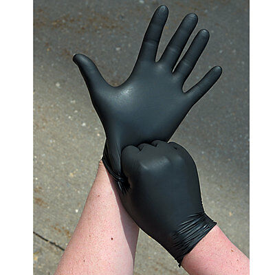 Disposable BLACK LATEX Medical Tatoo Mechanic Powder Free Gloves Box of 100