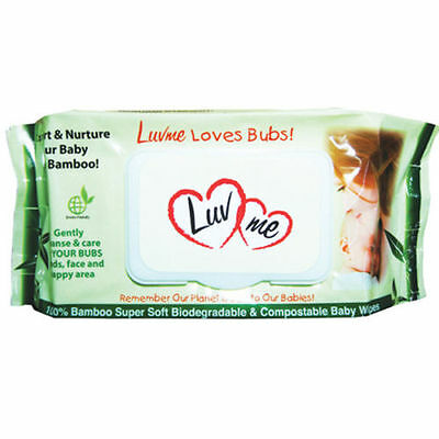 4 x 80pk LUVME Bamboo ECO Natural Baby Wet Wipes