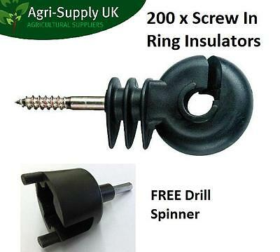 RING INSULATORS x 200 - Electric Fencing Fence Screw In FREE SPINNER TOOL