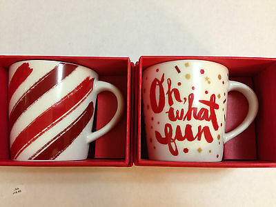 Set Of 2 Starbucks 2014 CHRISTMAS DEMITASSE MUGS (2oz) With Red Box