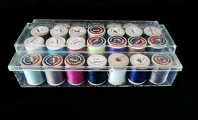 Lot of 28 Vintage Wooden Thread Spools with Plastic Thread Box Lot 1