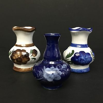 Lot of 3 Vintage Miniature Vases, Hand Painted, Blue & Brown, Unmarked