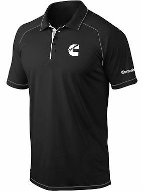 Cummins Mens Black Polo with White Trim; Polo Shirt; shirt; Truck;