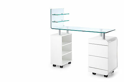 Glass Top Manicure Nail Desk Table with Nail Polish Display Storage Drawer stand
