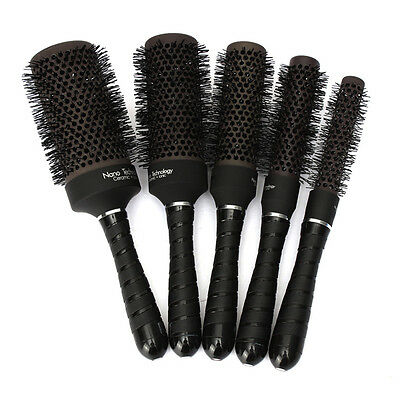 Ceramic Ionic Round Comb Barber Hair Dressing Salon Styling Brush Barrel Set