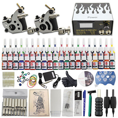 Tätowierung Komplett Tattoo Kit Set 40 Ink 2 Tattoomaschine Power Supply DJ19