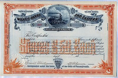 Wilkes-Barre & Eastern Railroad Company Stock Certificate Pennsylvania