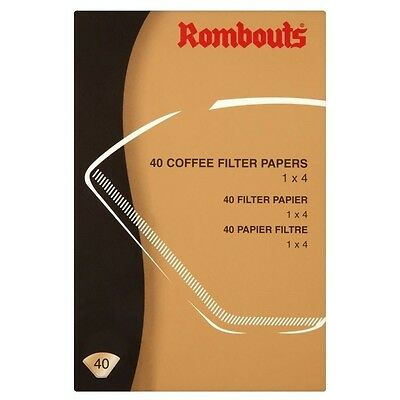 Rombouts Coffee filter Papers - 4 Cups (40). Free Shipping