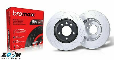 Genuine Bremaxx slotted disc rotor front pair for Mitsubishi EVO X (10) 350mm