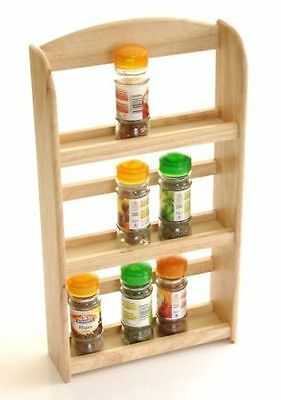 3 Tier Wood Wooden Herb Herbs Jar Holder Spice Rack Stand Kitchen Wall Mounted