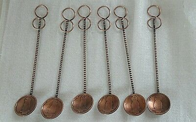 Vintage Collectible Copper Teaspoons With Cockatoo Etching On Spoon Face.