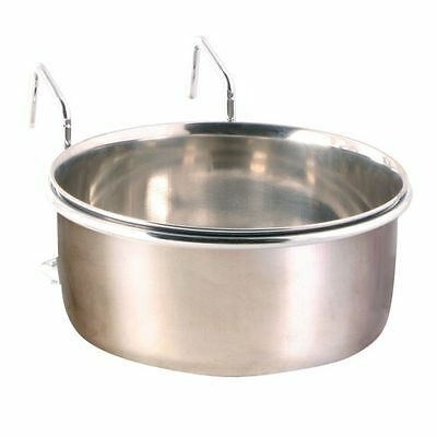 Stainless Steel Bird Bowl & Chrome Holder Bowl for Food Seed or Water 9cm 300ml