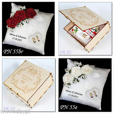 ~ Personalised wedding ring cushion pillow with rings holder ~ WOODEN BOX ~ GIFT
