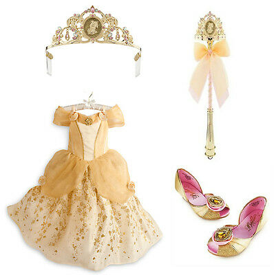 Disney Store Belle Complete Deluxe Costume Size 9-10, Tiara, shoes, wand , NWT