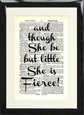 Art Print Antique Dictionary Page Shakespeare Quote She Is Fierce