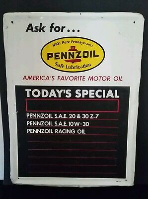 Pennzoil Tin Litho Advertising Gas Oil Sign W/  Menu Board For Service Station
