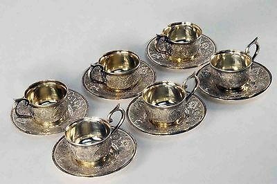 Vintage Persian Islamic 84 Silver 6-Piece Espresso Cup and Saucer Set