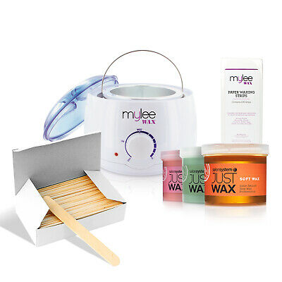 Mylee Waxing Set Kit Salon System Wax Heater Warmer Spatulas Strips  Depilatory