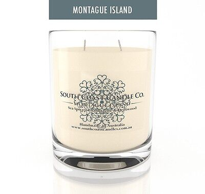 Scented Glass Candle Sea Spice Champagne Driftwood South Coast Candles