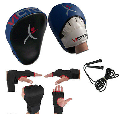 Boxing Punch Bag Focus Pads Set Inner Gloves Jumping Rope MMA Karate Brand New