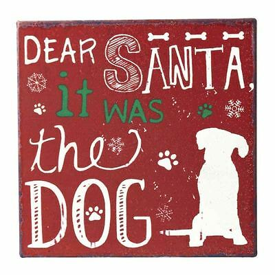 Christmas Dear Santa Square Metal Dog Sign Magnetic Back