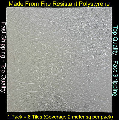 2M² Polystyrene Ceiling Tile Panel Flame Retardant Fire Resistant Budapest 1 Pac