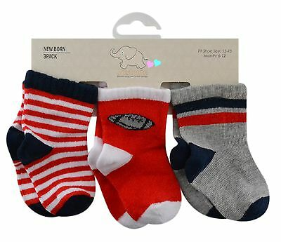 Baby boys socks 3 pairs rugby red navy white grey mix 90% cotton 0 to 18 months