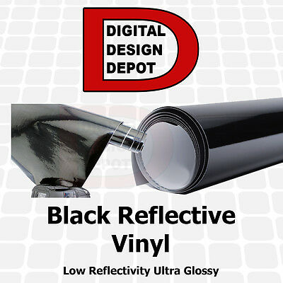 """12"""" x 5 ft Black Reflective Vinyl Adhesive Cutter Sign LOW Reflectivity"""