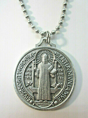 "XL St Benedict Jubilee Medal 1 1/2"" Italy Pendant Necklace 24"" Ball Chain"