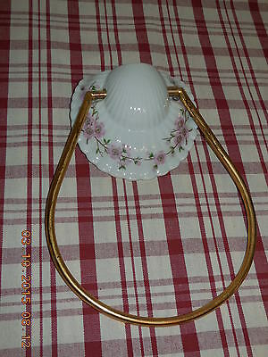 VINTAGE Porcelain & gilded metal TOWEL HOLDER Porcelain of PARIS FLORAL pattern