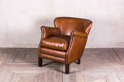 The Savoy Vintage Style Tan Leather Armchair