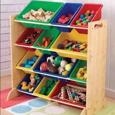 12 Tub Heavy Duty 4 Tier Solid Modern Kids Room Storage Unit Toy Storing New