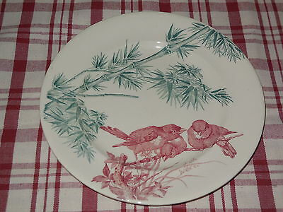Antique PLATE from the LONGWY pottery FRANCE - 1890's - BIRDS / nr.2