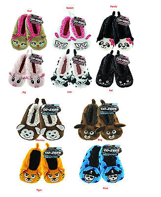 Kids Boys Girls Slipper  Sherpa Shoes Socks 3d Animal novelty Slipper all size