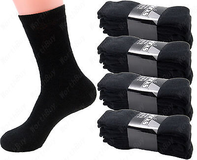New 3 6 12 Pairs Mens Sports Athletic Crew Socks Cotton Black Solid Work Boots