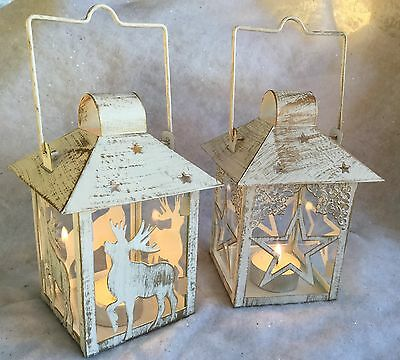 White Metal Tea Light Lantern Reindeer Star Candle Christmas Gold Wash Vintage
