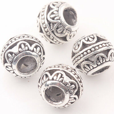 10/20Pcs Tibetan Silver Big Whole Loose Round  Spacer Beads Charms 10MM Making