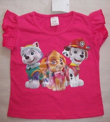 Brand New Girls Paw Patrol Cotton T-Shirt Top Tees- Size 2-7 Hot Pink & Pink