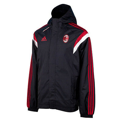 Ac Milan Mens Adidas Hooded All Weather Jacket 14/15 Size Xs S M L Xl Xxl Rrp£60