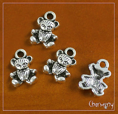 Tiny Teddy Bear charms PACK of 4~Tibetan silver pendant baby shower invitation