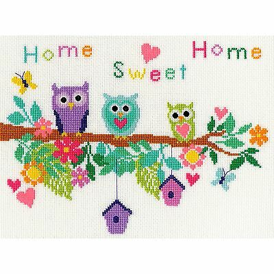 Bothy Threads Owl Bouquet With Birdhouses & Flowers Cross Stitch Kit - New Xb4