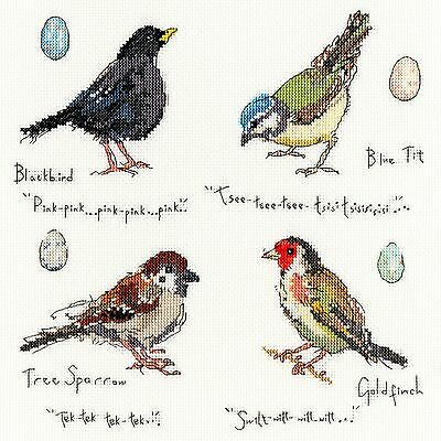 Bothy Threads Garden Birds 2 Blackbird Sparrow Blue Tit Cross Stitch Kit - New