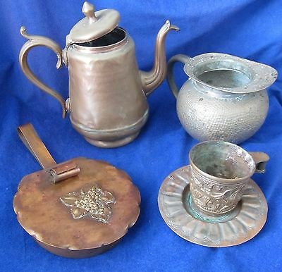 Vintage 5 Pieces Of Copper Coffee Pot Silent Butler Spittoon Cup Saucer Cm 342