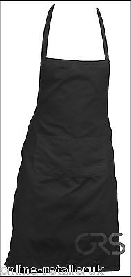 Black Halter Full Neck Bib Apron With Pockets Unisex Waiter Chef Cook Cleaner