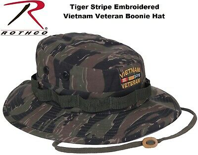 3d21401f0d7bd Tiger Stripe Military Wide Brim Vietnam Veteran Boonie Hat With Embroidered  5932