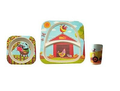 Kids Breakfast Bamboo Divided Plate Cereal Bowl & Cup - Children Farm Dinner Set